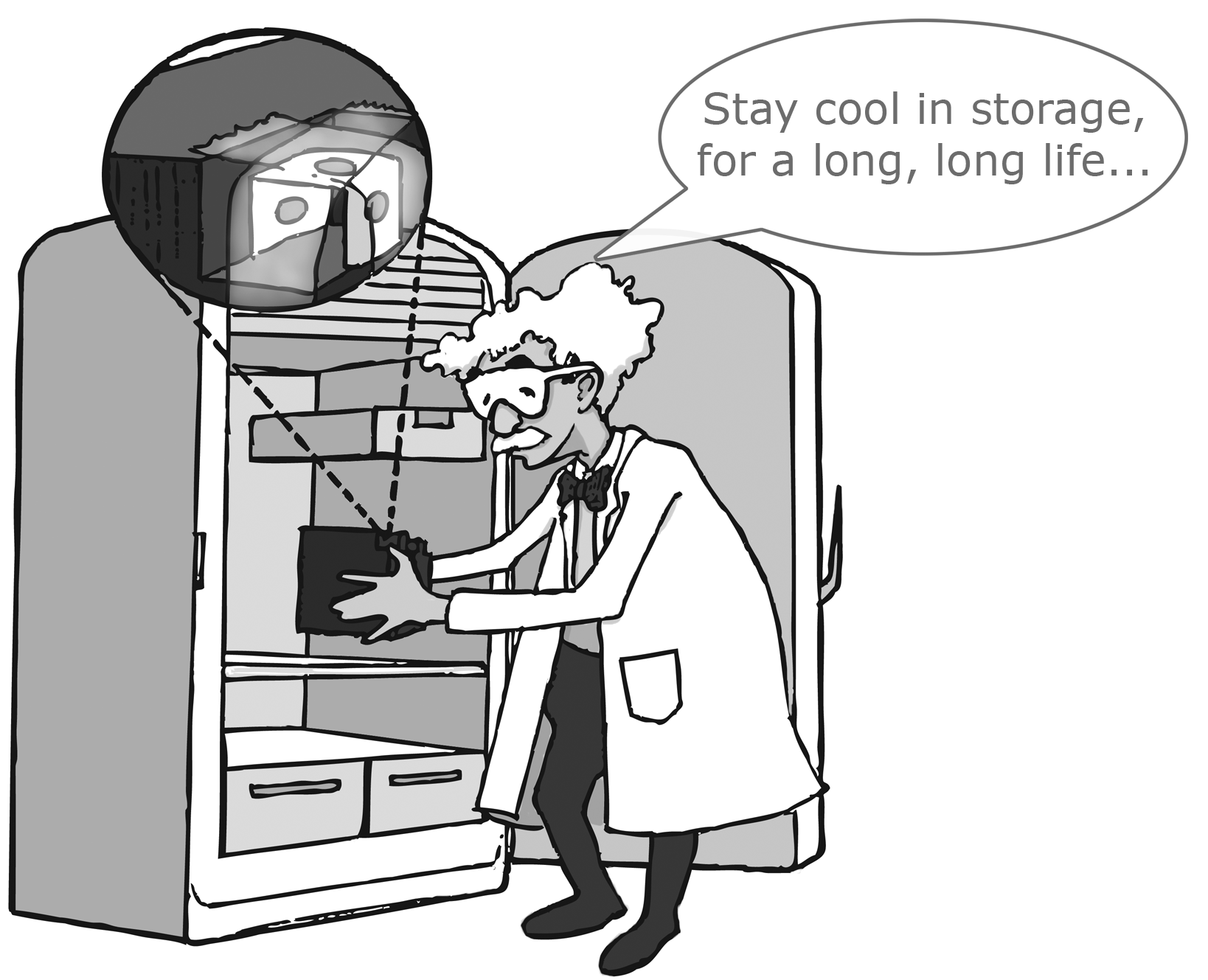"Dr Shock Says ""Stay Cool in STorage, for a long, long life..."""