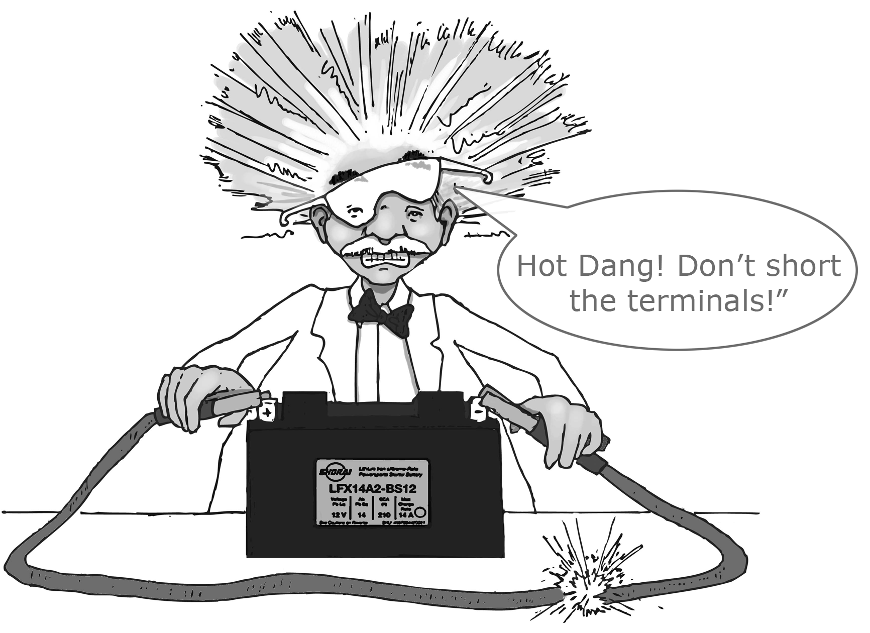 "Dr Shock Says ""Hot Dang!  Don't short the terminals!"""